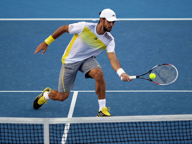 Spaniard Fernando Verdasco in action during his second round encounter with Xavier Malisse at the Australian Open tennis championship on January 16, 2013