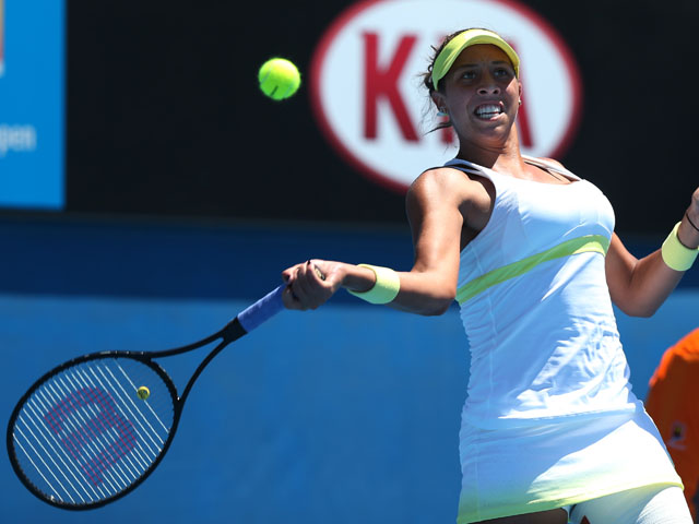 Madison Keys makes a forehand return in her second round match with Tamira Paszek at the Australian Open tennis championship on January 16, 2013
