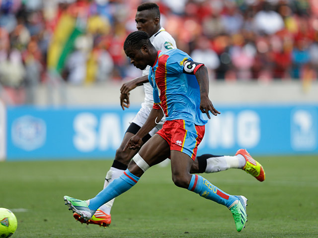 Congo DR's Tresor Mputu scores the equaliser against Ghana on January 20, 2013