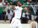 Burkina Faso's Alain Traore celebrates at the end of their African Cup of Nations match with Nigeria on January 21, 2013