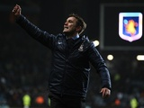 Bradford boss Phil Parkinson celebrates after the club's famous win over Aston Villa on January 23, 2013