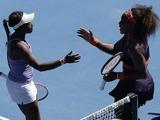 Serena Williams congratulates Sloane Stephens following their quarter-final match on January 23, 2013
