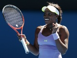 American Sloane Stephens makes a fist following her quarter-final defeat of Serena Williams on January 23, 2013