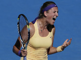 Victoria Azarenka reacts during her semifinal match against American Sloane Stephens at the Australian Open tennis championship on January 24, 2013
