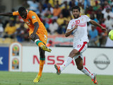 Ivory Coast's Yaya Toure strikes the ball to net his team's second in the Africa Cup of Nations match against Tunisia on January 26, 2013