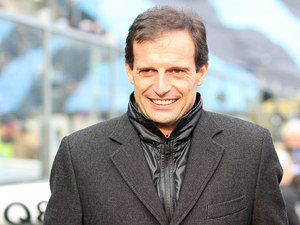 AC Milan coach Massimiliano Allegri prior to kick-off against Atalanta on Janaury 27, 2013