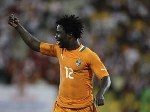 Ivory Coast forward Wilfred Bony celebrates a goal against Angola on January 30, 2012