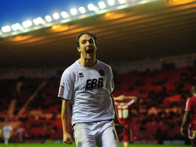 Aldershot player Danny Hylton celebrates scoring his sides goal agasint Middlesbrough on January 26, 2013