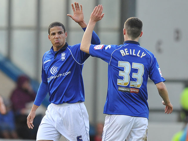 Birmingham City's Curtis Davies is congratulated on scoring his sides first goal against Burnley on January 26, 2013