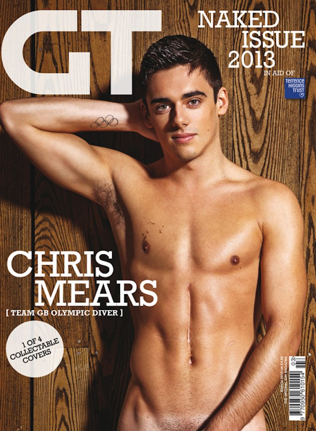 Chris Mears naked for Gay Times magazine