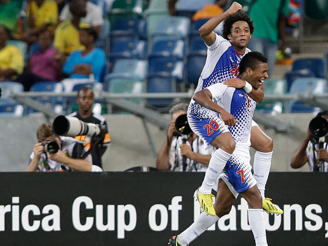 Cape Verde Islands Luis 'Platini' Soares is congratulated by team mate Ryan Mendes after scoring the opening goal in the Africa Cup of Nations match against Morocco on January 23, 2013