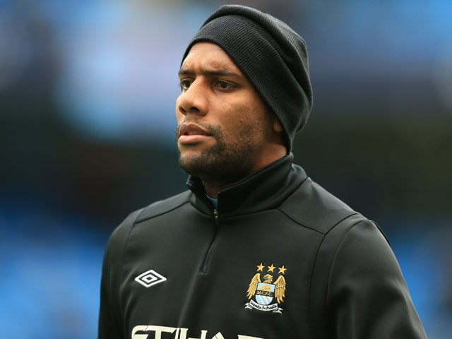 Manchester City defender Maicon before his sides match with Manchester United on December 9, 2012