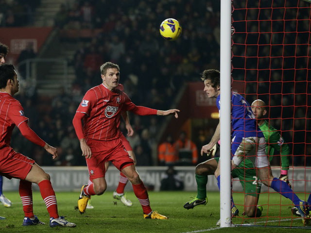 Everton defender Leighton Baines clears a shot off the line during his sides match with Southampton on January 21, 2013
