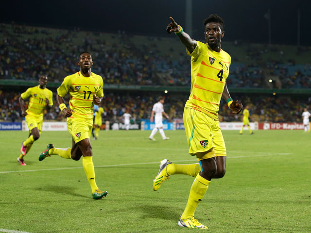 Emmanuel Adebayor scores for Togo in their African Cup of Nations match with Algeria on January 26, 2013