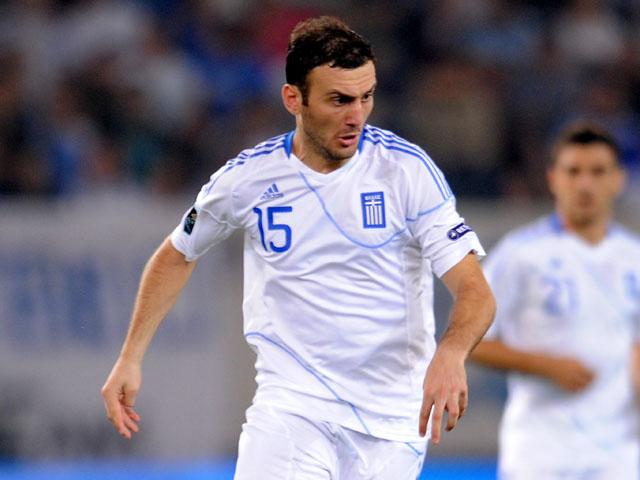 Vasilis Torosidis playing for Greece in their match against Croatia on October 10, 2011