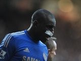 Chelsea's Demba Ba sports a plaster on his face after suffering an injury against Newcastle on February 2, 2013