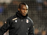 On loan Arsenal midfielder Emmanuel Frimpong warms up for Fulham against West Ham on January 30, 2013