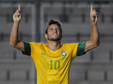 Felipe Anderson celebrates scoring for his country on January 16, 2013