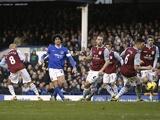 Everton midfielder Marouane Fellaini pulls a goal back against Aston Villa on February 2, 2013