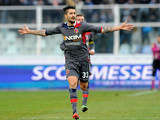 Bologna's Panagiotis Kone celebrates after scoring his team's third against Pescara on February 3, 2013