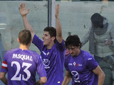 Fiorentina's Stefan Jovetic celebrates with team mates after scoring his team's second against Parma on February 3, 2013