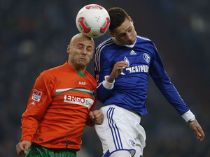 Shalke player Julian Draxler challenges for the ball in his team's match with Greuther Fuerth on February 2, 2013
