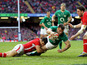 Cian Healy scores for Ireland in their match against Wales on February 2, 2012