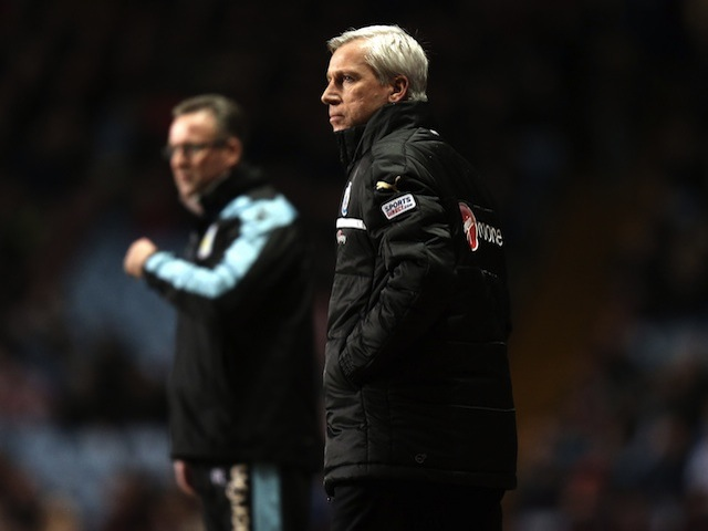 Magpies boss Alan Pardew on the touchline at Aston Villa on January 29, 2013