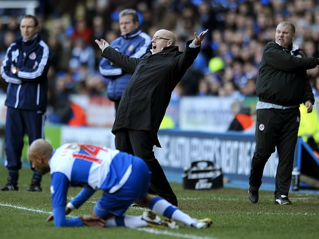 Reading manager Brian McDermott appeals on the touchline against Sunderland on February 2, 2013