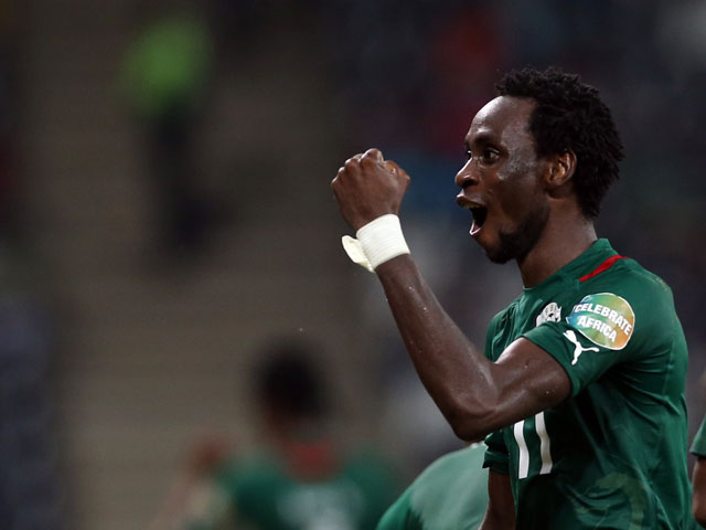 Burkina Faso player Jonathan Pitroipa celebrates scoring an extra time goal against Togo in the African Cup of Nations quarter final on February 3, 2013