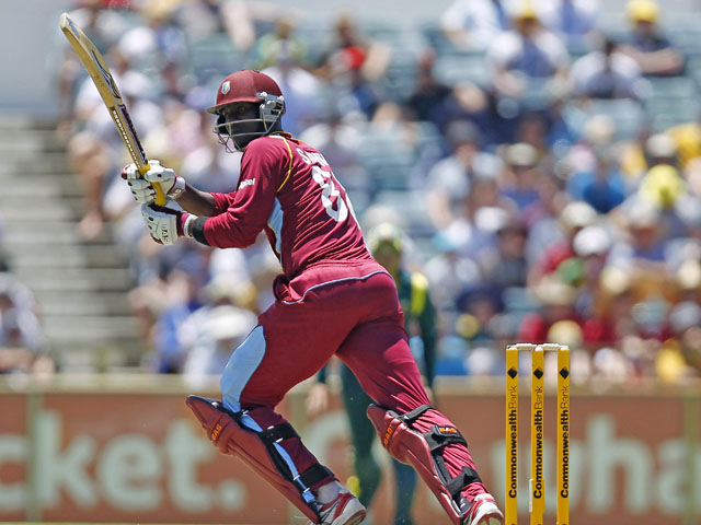 West Indies captain Darren Sammy hits a shot during his sides match against Australia on February 1, 2013