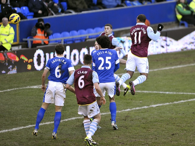 Gabriel Agbonlahor heads Villa back into the lead against Everton on February 2, 2013