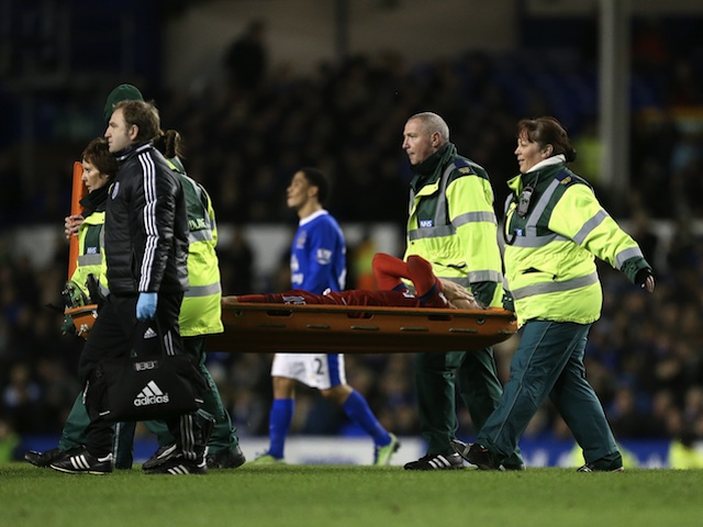 West Brom midfielder George Thorne leaves the field injured against Everton on January 30, 2013