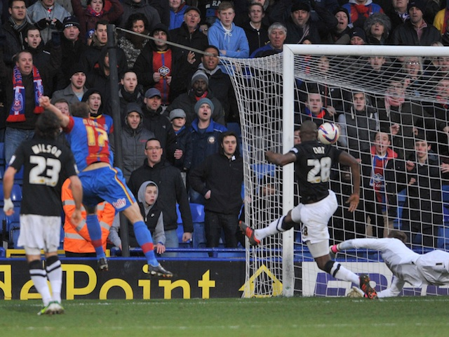 Palace striker Glen Murray scores against Charlton on February 2, 2013