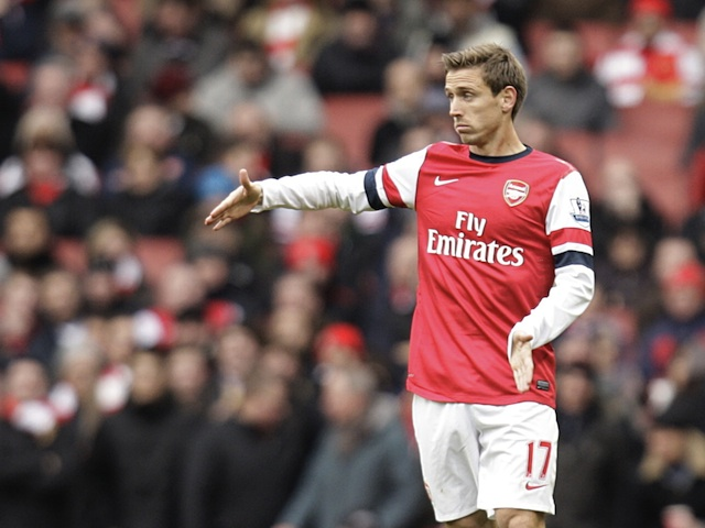 New Arsenal defender Nacho Monreal in action on his debut against Stoke on February 2, 2013