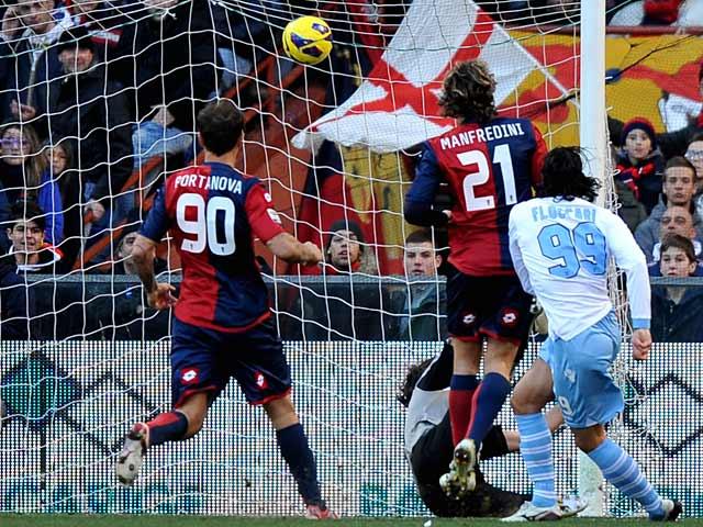 Lazio's Sergio Floccari scores his team's first against Genoa on February 3, 2013