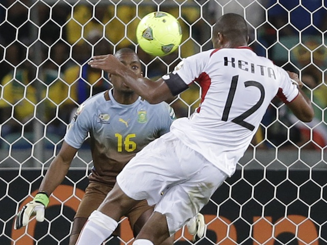 Mali captain Seydou Keita scores a goal against South Africa on February 2, 2013