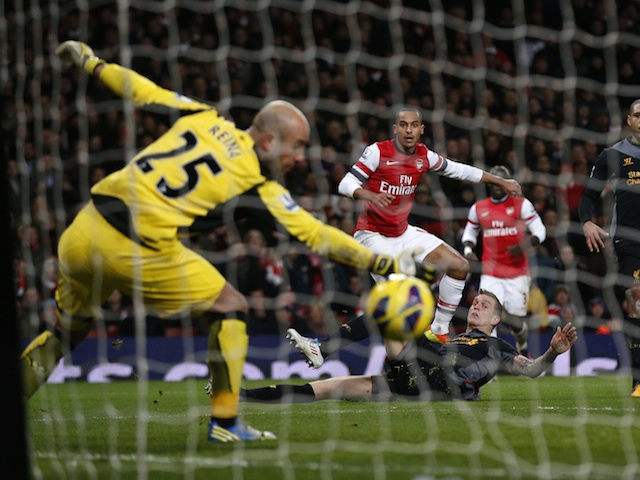 Arsenal's Theo Walcott smashes in an equaliser against Liverpool on January 30, 2013