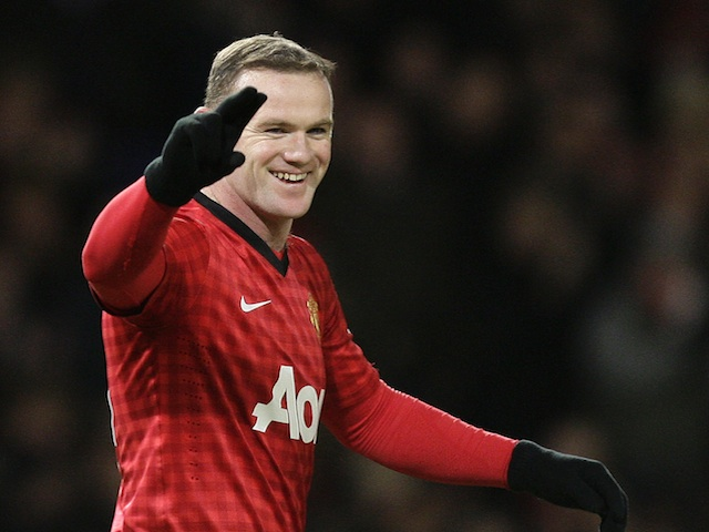 United's Wayne Rooney celebrates equalising against Southampton on January 30, 2013