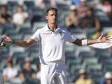 South Africa bowler Dale Steyn celebrates taking a wicket on December 3, 2012