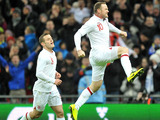 England's Wayne Rooney celebrates after scoring against Brazil on February 6, 2013