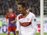Stuttgart's Martin Harnik celebrates after scoring for his side against Steaua Bucharest on November 22, 2012