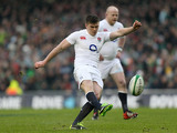 England's Owen Farrell kicks a penalty against Ireland in their Six Nations match on February 10, 2013