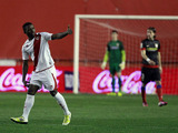 Rayo Vallecano's Lass Bangoura celebrates scoring against Atletico Madrid on February 10, 2013