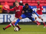 Birmingham's Rob Hall battles with Charlton's Chris Solly on February 9, 2013