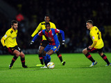 Crystal Palace player Wilfried Zaha is surrounded by Watford players in the two side's clash on February 8, 2013