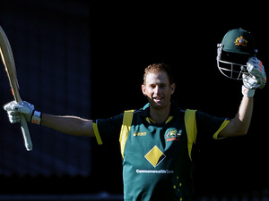 Australia's Adam Voges celebrates his century against the West Indies in the fifth and final one-day international match on February 10, 2013