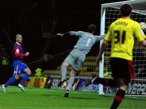 Crystal Palace's Kevin Phillips scores heis side's equalising goal against Watford on February 8, 2013
