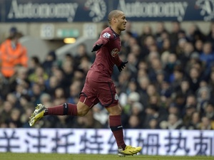 Newcastle winger Yoan Gouffran celebrates his goal against Spurs on February 9, 2013