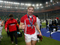 Wales player Leigh Halfpenny celebrates following his side's victory over France on February 9, 2013